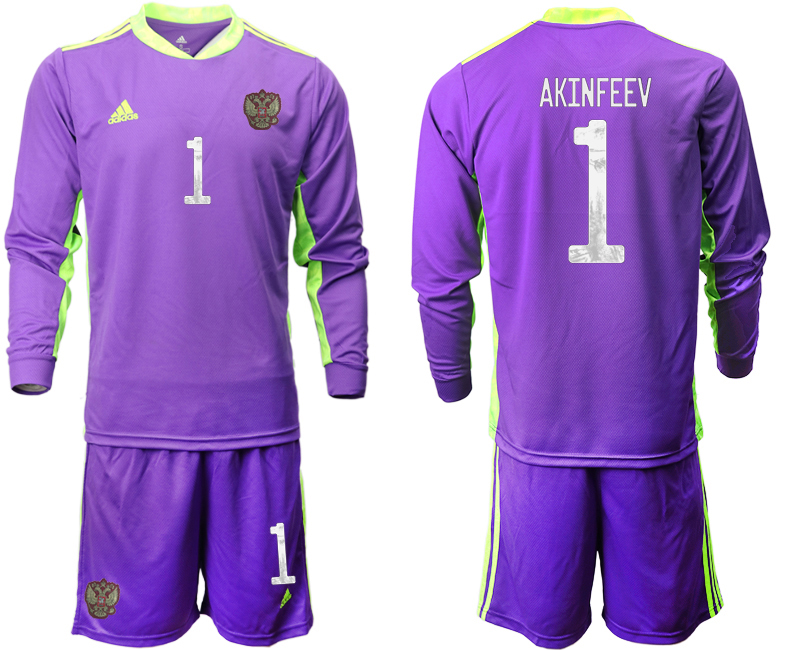 Wholesale Men 2021 European Cup Russia purple Long sleeve goalkeeper 1 Soccer Jersey1