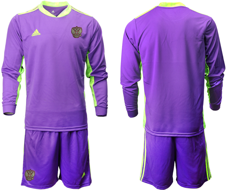 Wholesale Men 2021 European Cup Russia purple Long sleeve goalkeeper Soccer Jersey