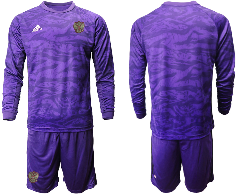 Wholesale Men 2021 European Cup Russia purple Long sleeve goalkeeper Soccer Jersey1