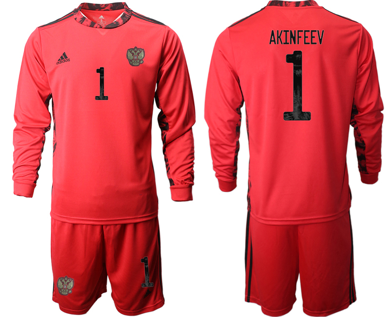 Wholesale Men 2021 European Cup Russia red Long sleeve goalkeeper 1 Soccer Jersey