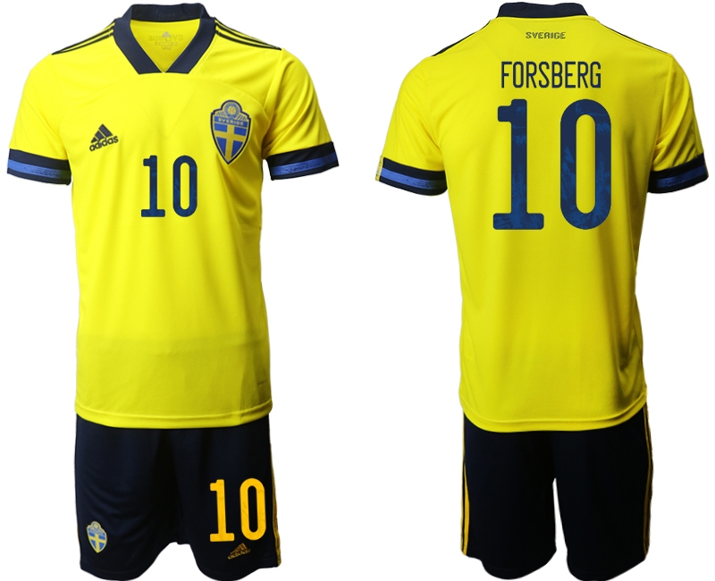 Wholesale Men 2021 European Cup Sweden home yellow 10 Soccer Jersey