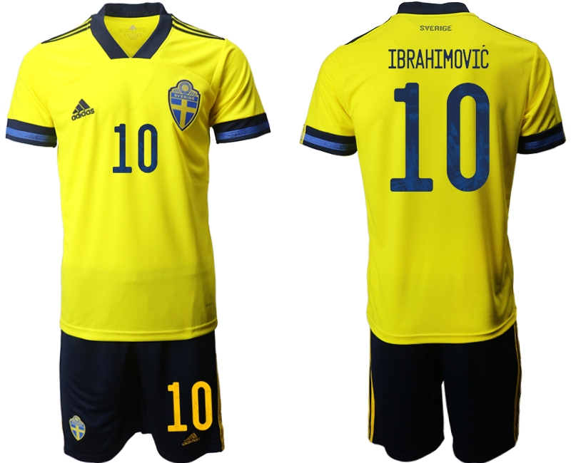 Wholesale Men 2021 European Cup Sweden home yellow 10 Soccer Jersey1