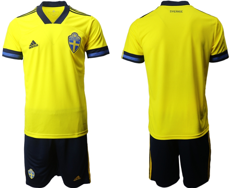 Wholesale Men 2021 European Cup Sweden home yellow Soccer Jersey