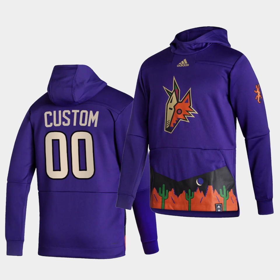 Wholesale Men Arizona Coyotes 00 Custom Purple NHL 2021 Adidas Pullover Hoodie Jersey