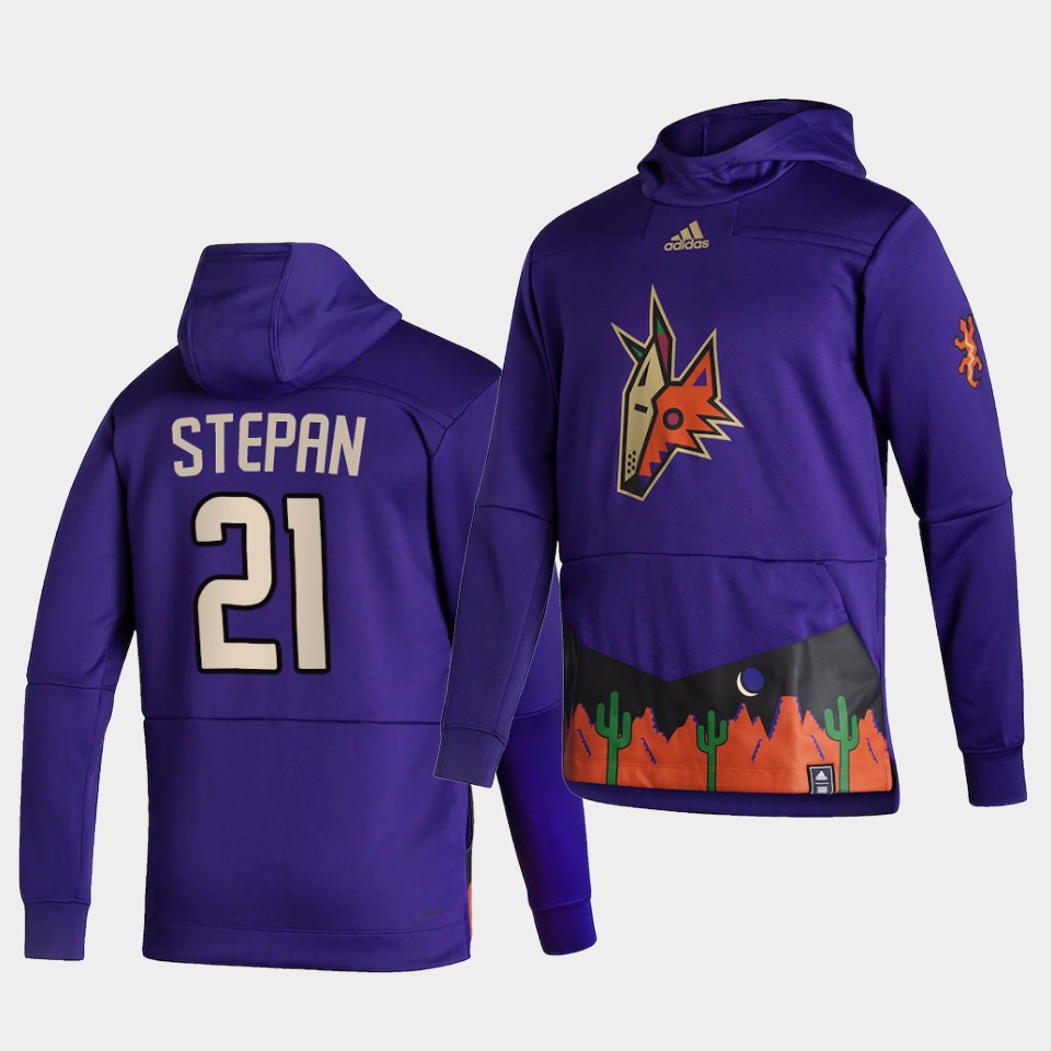 Wholesale Men Arizona Coyotes 21 Stepan Purple NHL 2021 Adidas Pullover Hoodie Jersey