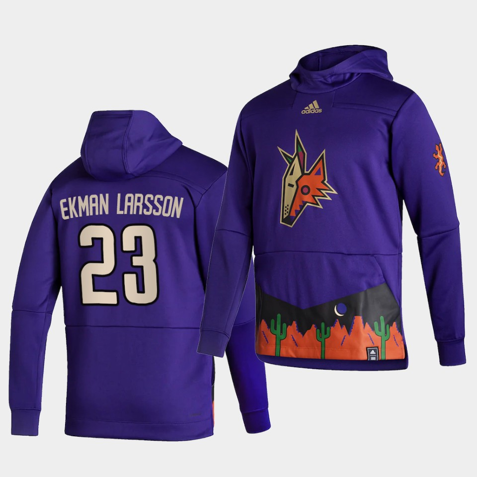 Wholesale Men Arizona Coyotes 23 Ekman larsson Purple NHL 2021 Adidas Pullover Hoodie Jersey