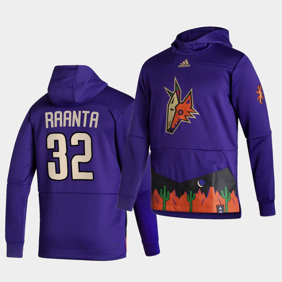 Wholesale Men Arizona Coyotes 32 Raanta Purple NHL 2021 Adidas Pullover Hoodie Jersey