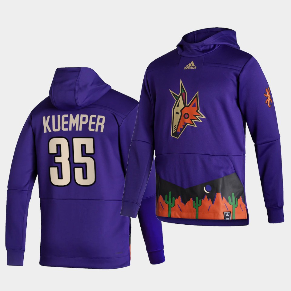 Wholesale Men Arizona Coyotes 35 Kuemper Purple NHL 2021 Adidas Pullover Hoodie Jersey