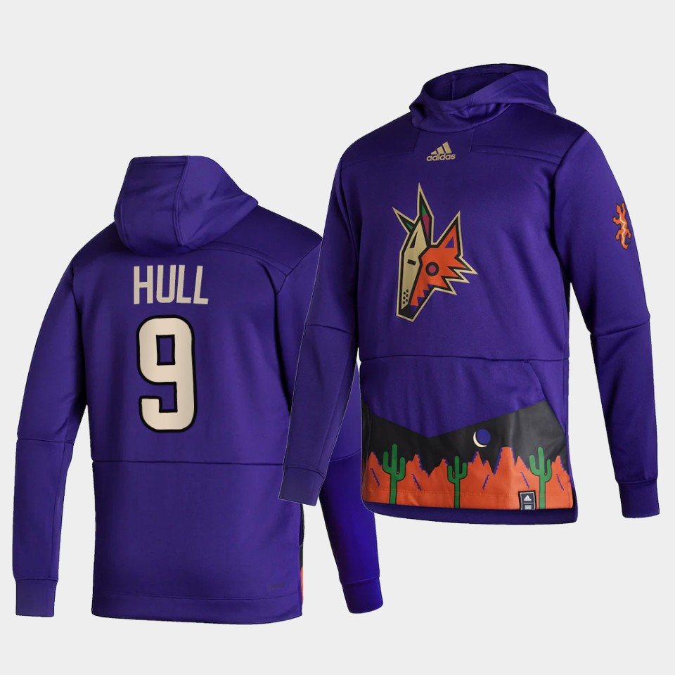 Wholesale Men Arizona Coyotes 9 Hull Purple NHL 2021 Adidas Pullover Hoodie Jersey