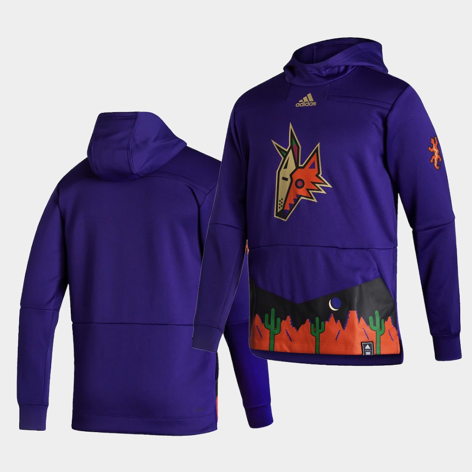 Wholesale Men Arizona Coyotes Blank Purple NHL 2021 Adidas Pullover Hoodie Jersey