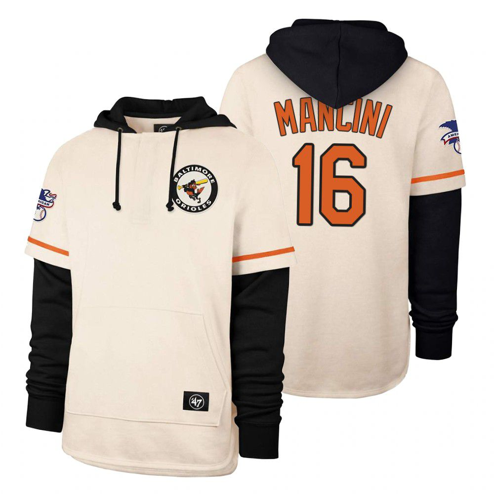 Cheap Men Baltimore Orioles 16 Mancini Cream 2021 Pullover Hoodie MLB Jersey