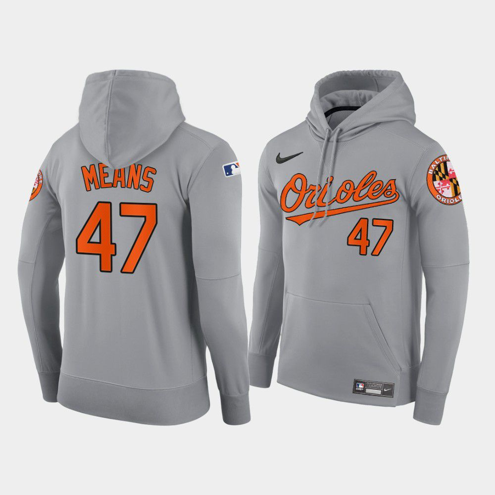 Cheap Men Baltimore Orioles 47 Means gray road hoodie 2021 MLB Nike Jerseys