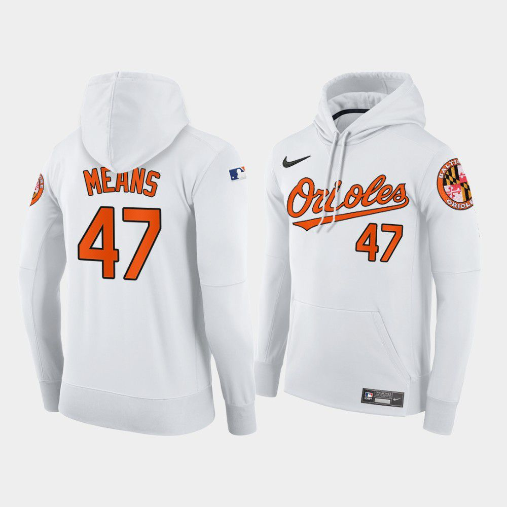 Cheap Men Baltimore Orioles 47 Means white home hoodie 2021 MLB Nike Jerseys