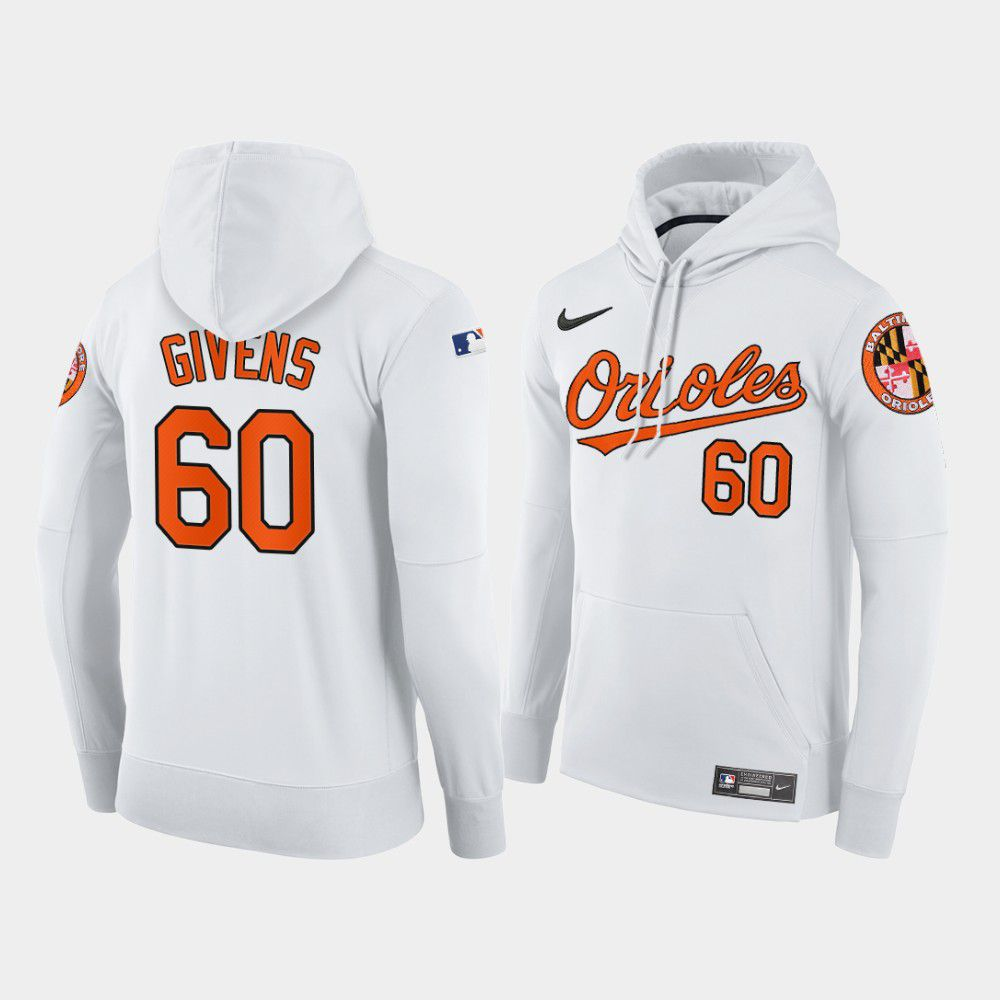 Cheap Men Baltimore Orioles 60 Givens white home hoodie 2021 MLB Nike Jerseys