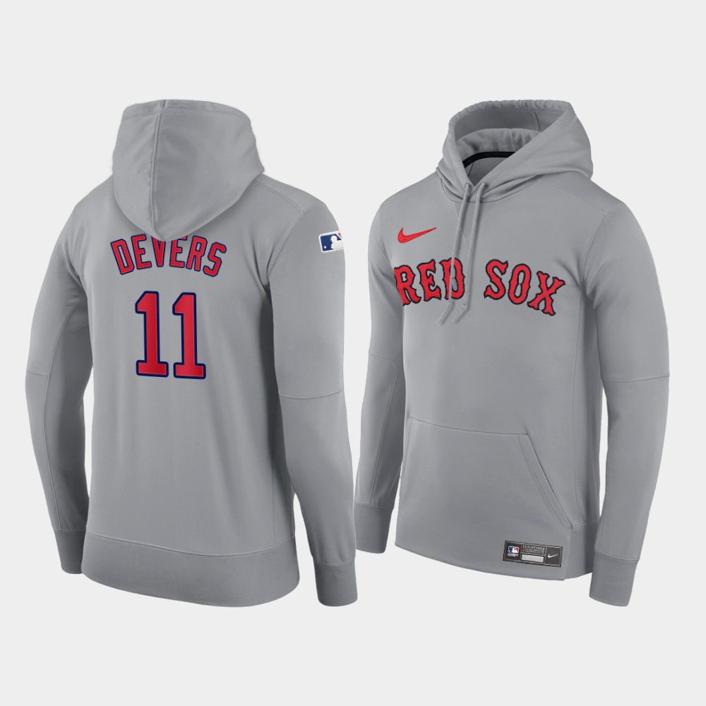 Cheap Men Boston Red Sox 11 Devers gray road hoodie 2021 MLB Nike Jerseys