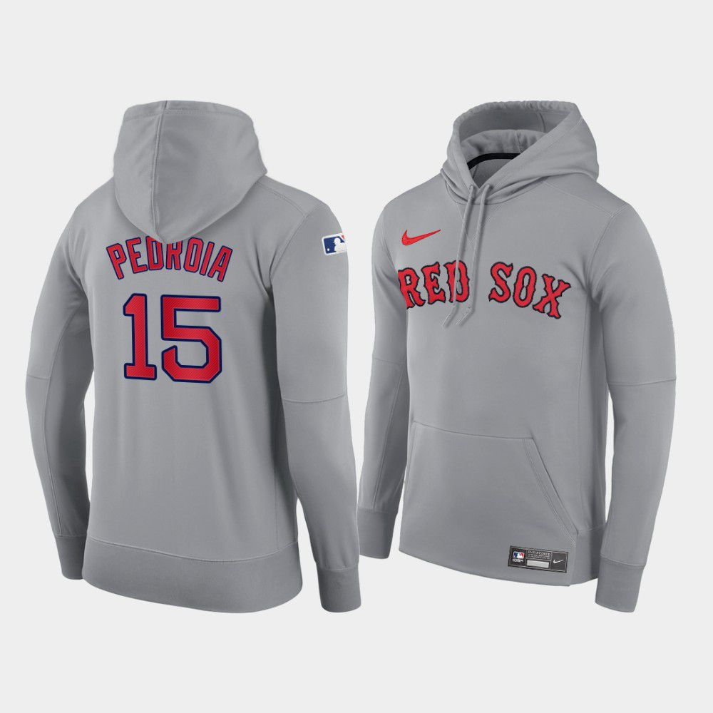 Cheap Men Boston Red Sox 15 Pedroia gray road hoodie 2021 MLB Nike Jerseys