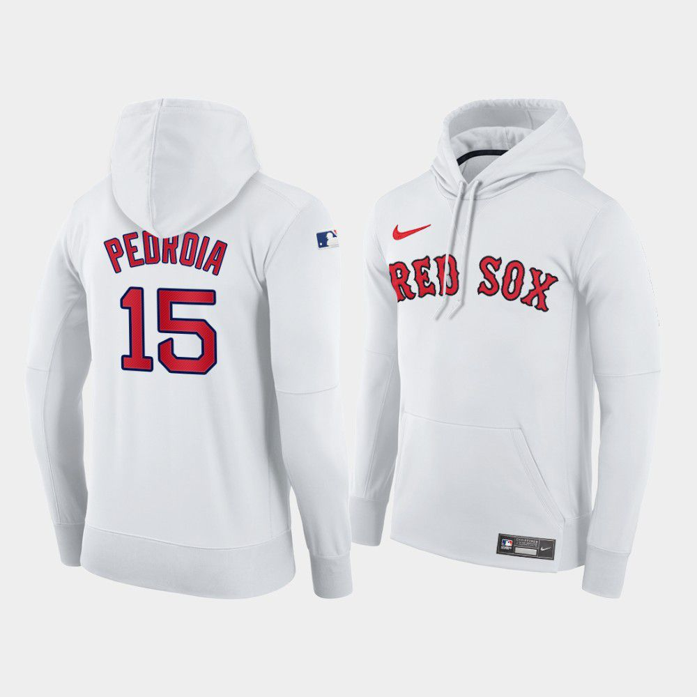 Cheap Men Boston Red Sox 15 Pedroia white home hoodie 2021 MLB Nike Jerseys