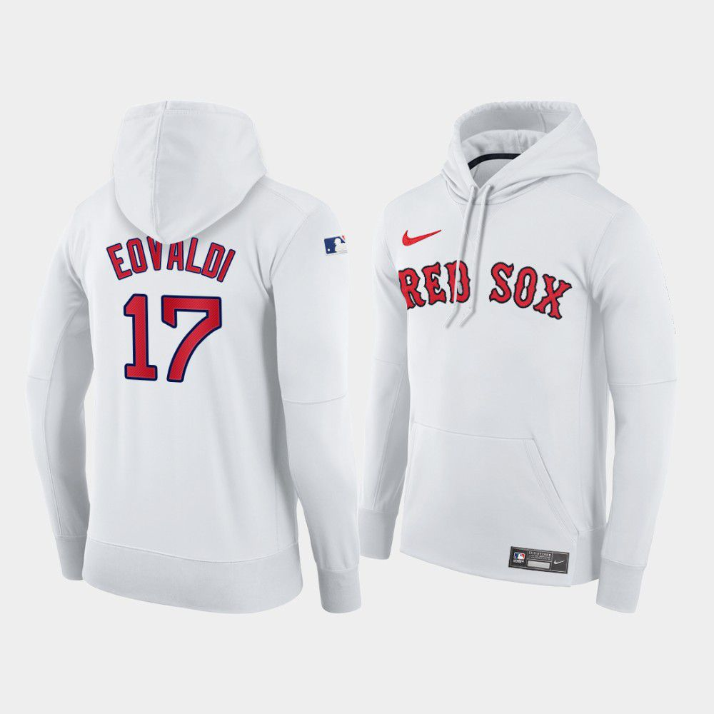 Cheap Men Boston Red Sox 17 Eovaldi white home hoodie 2021 MLB Nike Jerseys