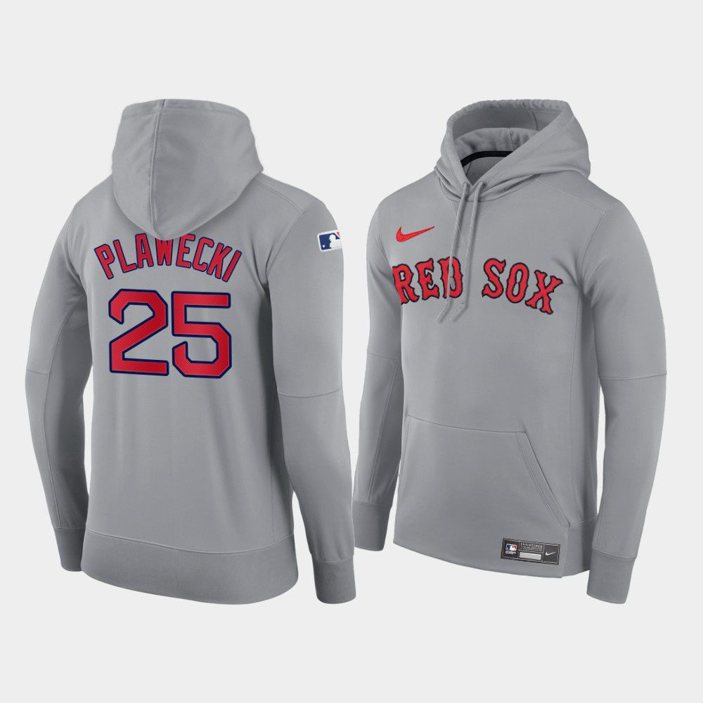 Cheap Men Boston Red Sox 25 Plawecki gray road hoodie 2021 MLB Nike Jerseys
