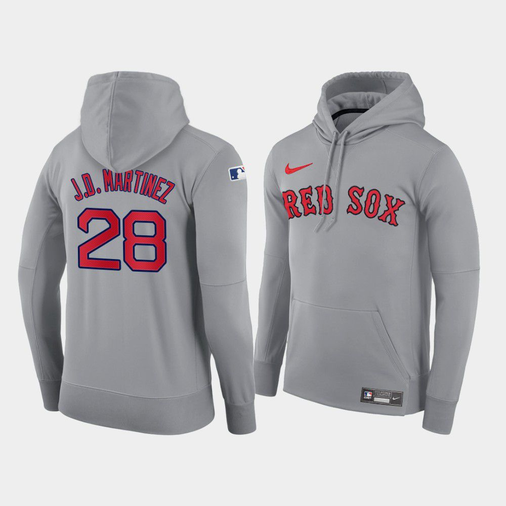 Cheap Men Boston Red Sox 28 J.D.Martinez gray road hoodie 2021 MLB Nike Jerseys