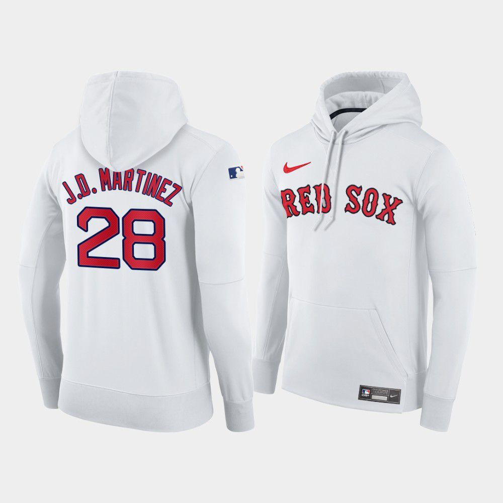 Cheap Men Boston Red Sox 28 J.D.Martinez white home hoodie 2021 MLB Nike Jerseys
