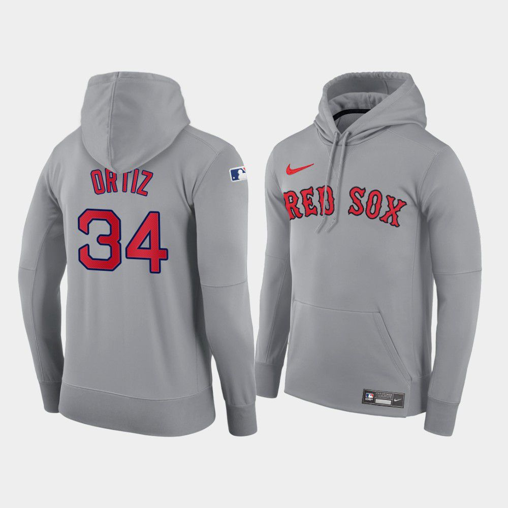 Cheap Men Boston Red Sox 34 Ortiz gray road hoodie 2021 MLB Nike Jerseys