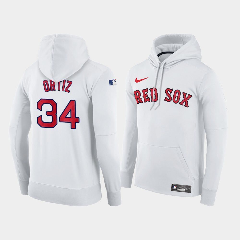 Cheap Men Boston Red Sox 34 Ortiz white home hoodie 2021 MLB Nike Jerseys