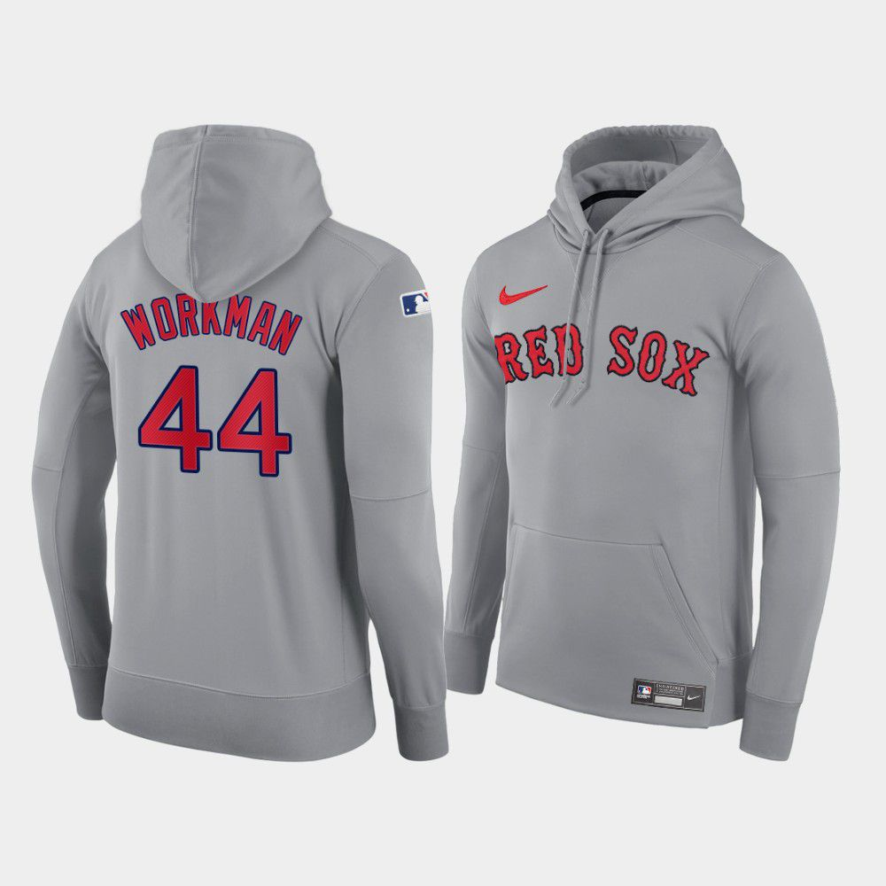 Cheap Men Boston Red Sox 44 Workman gray road hoodie 2021 MLB Nike Jerseys