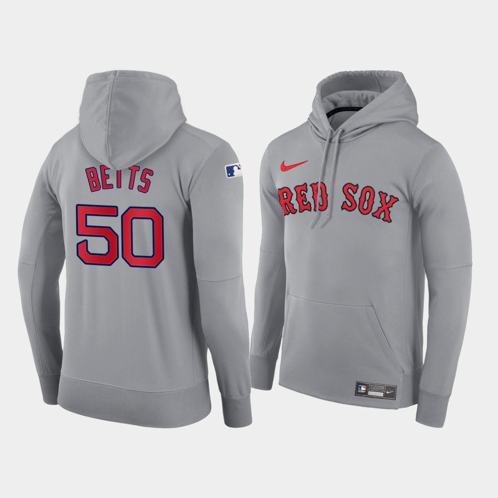 Cheap Men Boston Red Sox 50 Betts gray road hoodie 2021 MLB Nike Jerseys