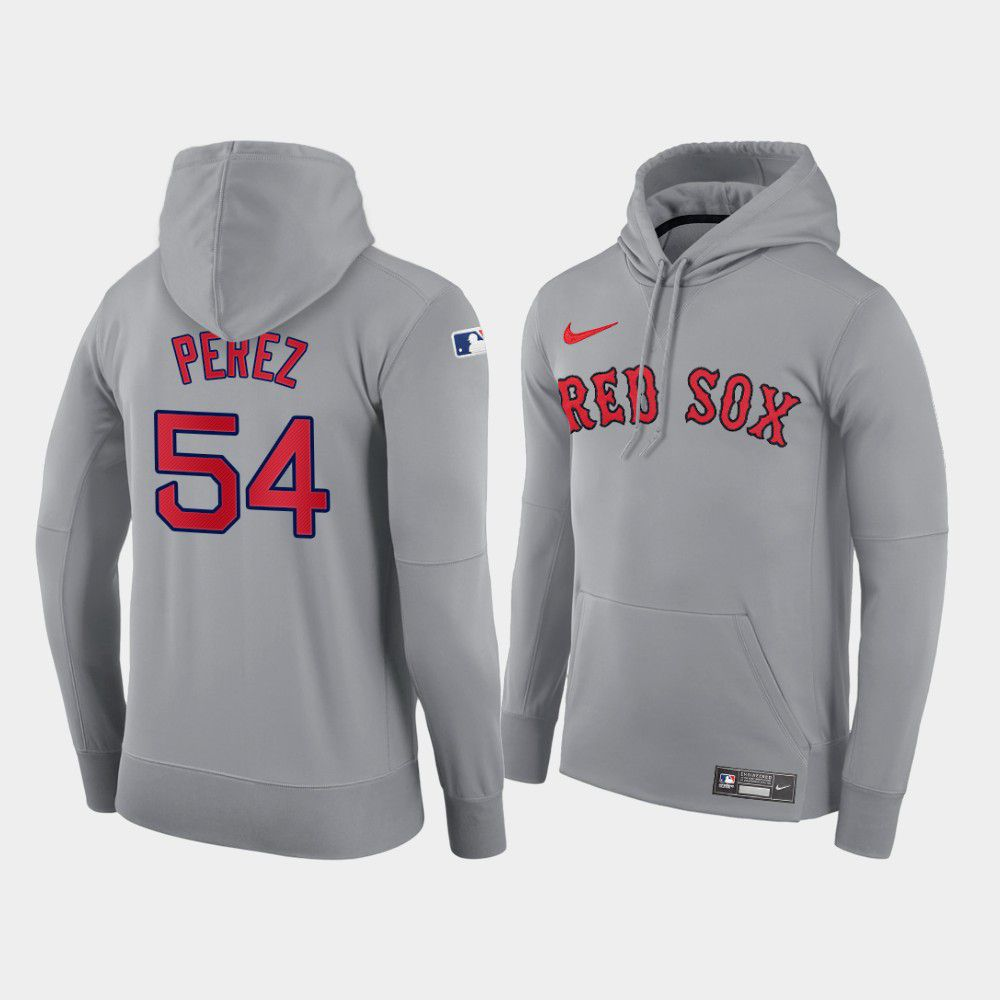 Cheap Men Boston Red Sox 54 Perez gray road hoodie 2021 MLB Nike Jerseys