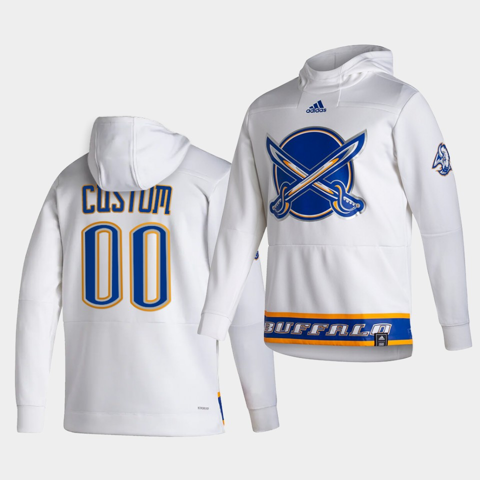 Cheap Men Buffalo Sabres 00 Custom White NHL 2021 Adidas Pullover Hoodie Jersey