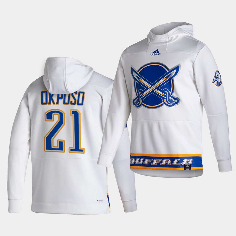Cheap Men Buffalo Sabres 21 Okposo White NHL 2021 Adidas Pullover Hoodie Jersey