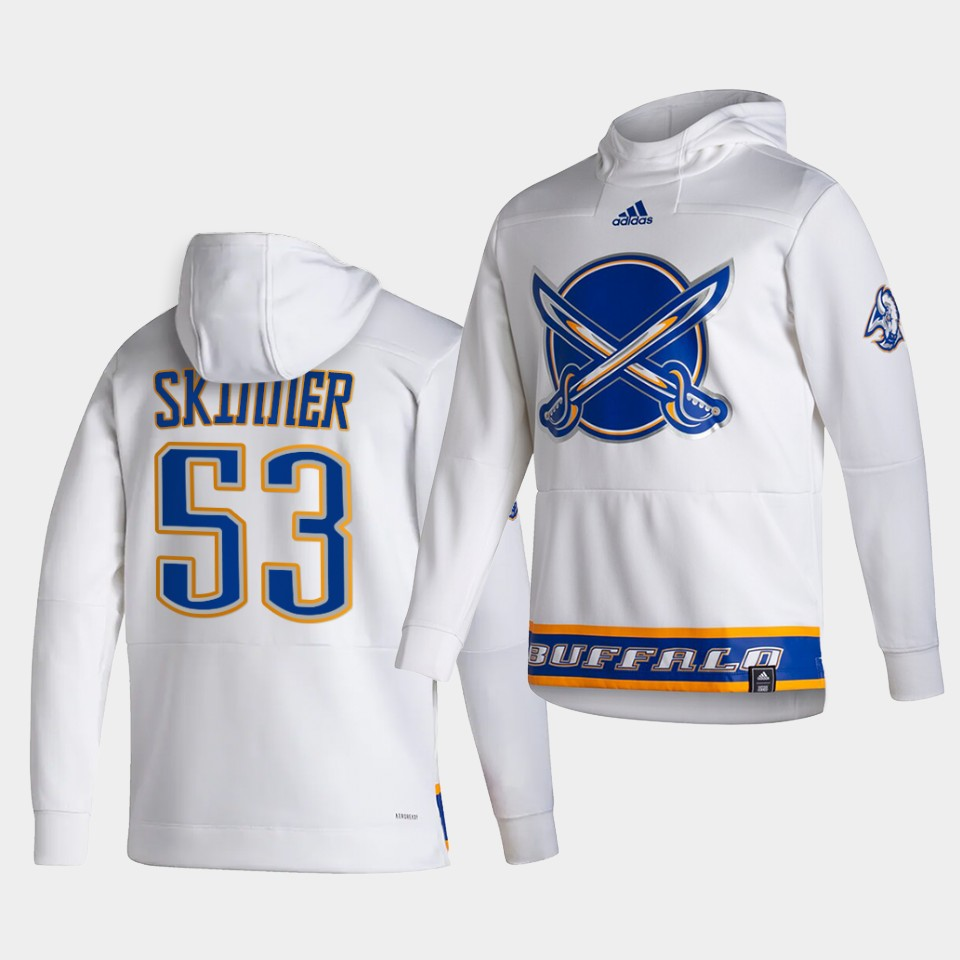 Cheap Men Buffalo Sabres 53 Skinner White NHL 2021 Adidas Pullover Hoodie Jersey