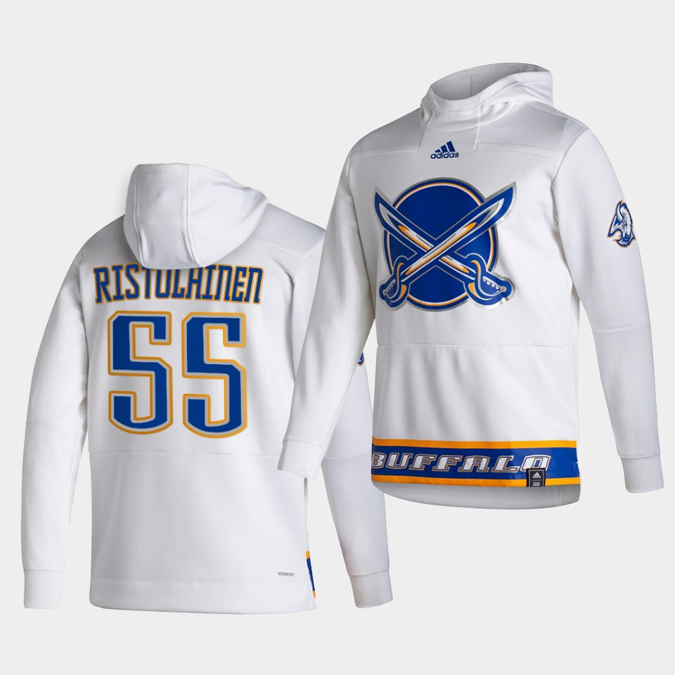 Cheap Men Buffalo Sabres 55 Ristolainen White NHL 2021 Adidas Pullover Hoodie Jersey