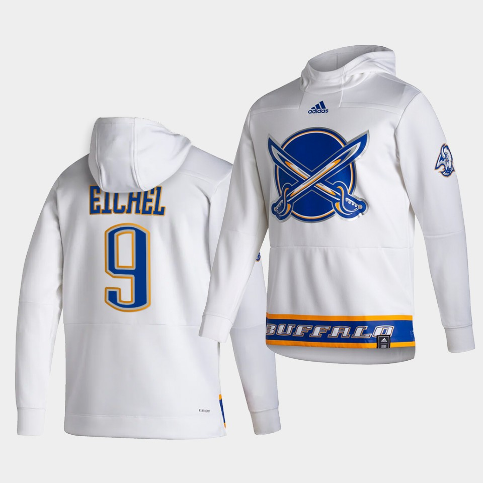 Cheap Men Buffalo Sabres 9 Eichel White NHL 2021 Adidas Pullover Hoodie Jersey
