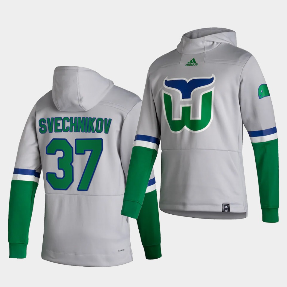 Wholesale Men Carolina Hurricanes 37 Svechnikov White NHL 2021 Adidas Pullover Hoodie Jersey