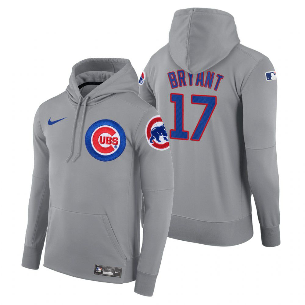 Wholesale Men Chicago Cubs 17 Bryant gray road hoodie 2021 MLB Nike Jerseys