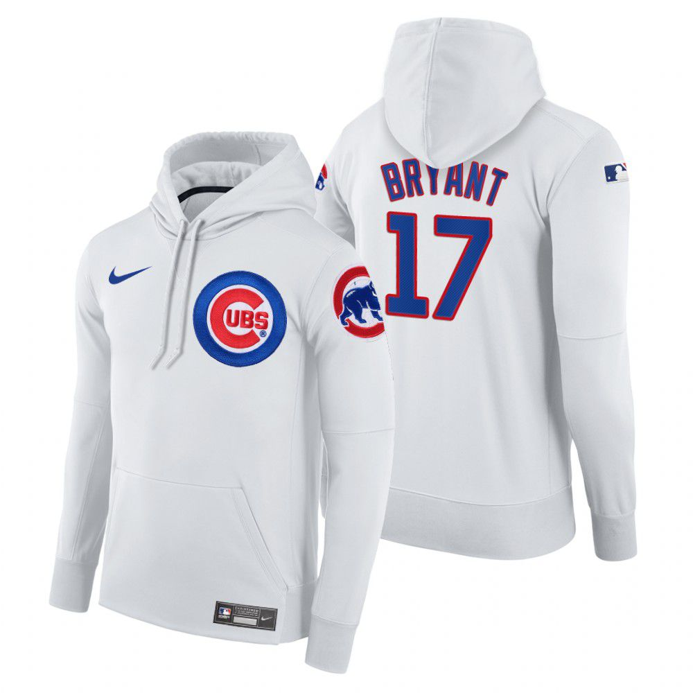 Wholesale Men Chicago Cubs 17 Bryant white home hoodie 2021 MLB Nike Jerseys