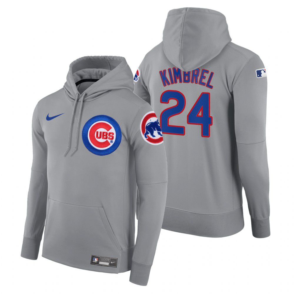 Wholesale Men Chicago Cubs 24 Kimbrel gray road hoodie 2021 MLB Nike Jerseys