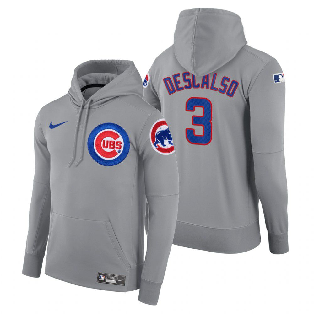 Wholesale Men Chicago Cubs 3 Descalso gray road hoodie 2021 MLB Nike Jerseys