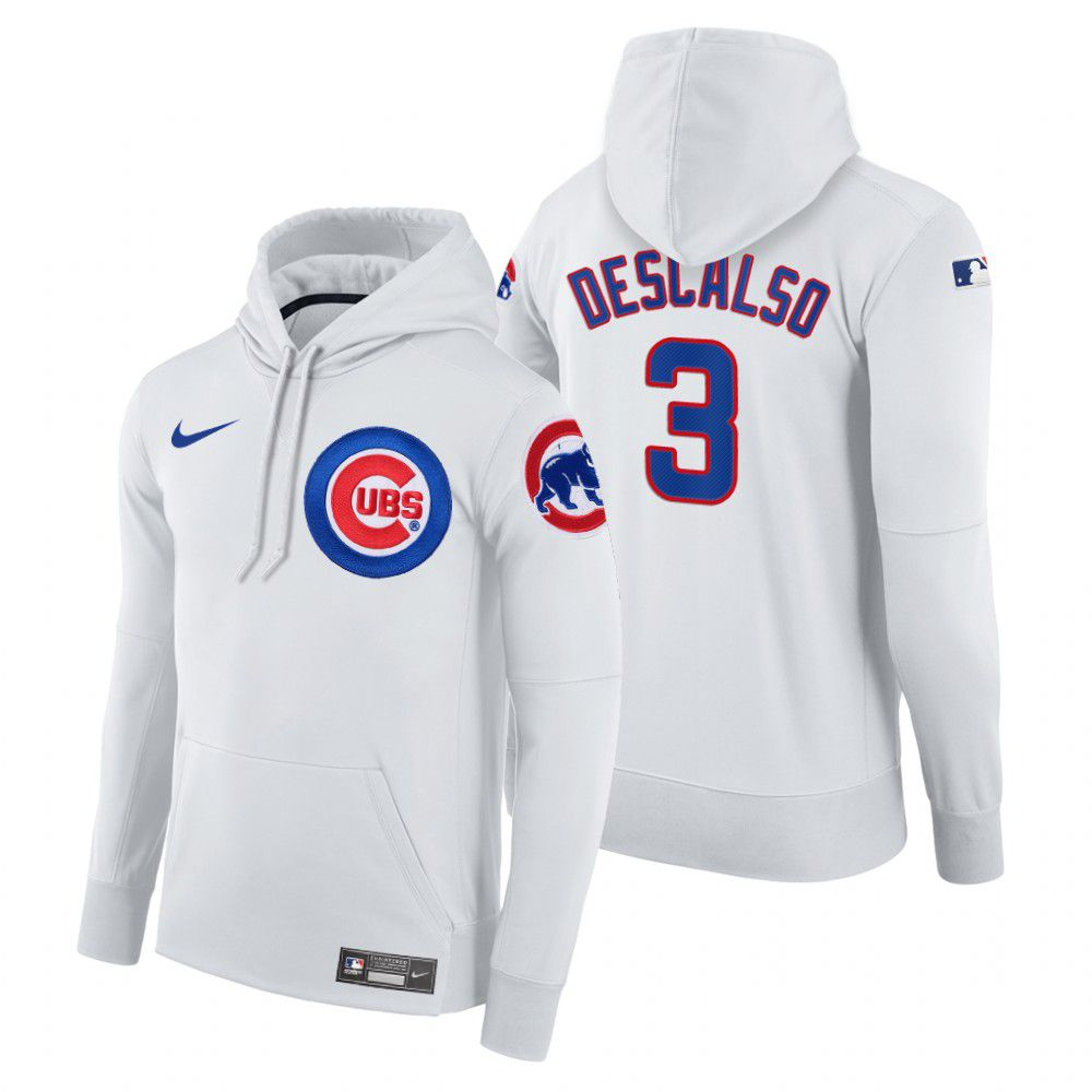 Wholesale Men Chicago Cubs 3 Descalso white home hoodie 2021 MLB Nike Jerseys