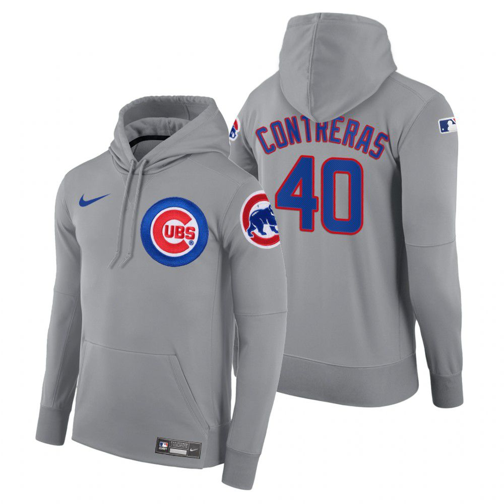Wholesale Men Chicago Cubs 40 Contreras gray road hoodie 2021 MLB Nike Jerseys