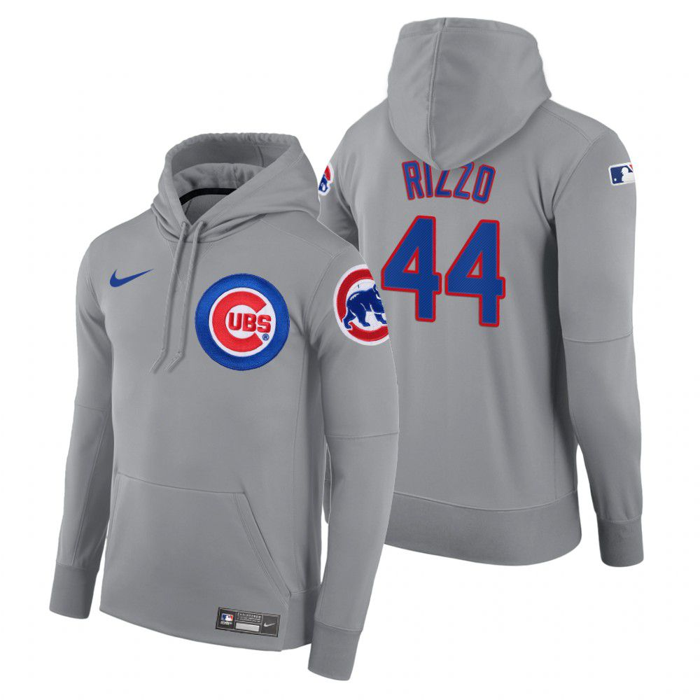 Wholesale Men Chicago Cubs 44 Rizzo gray road hoodie 2021 MLB Nike Jerseys