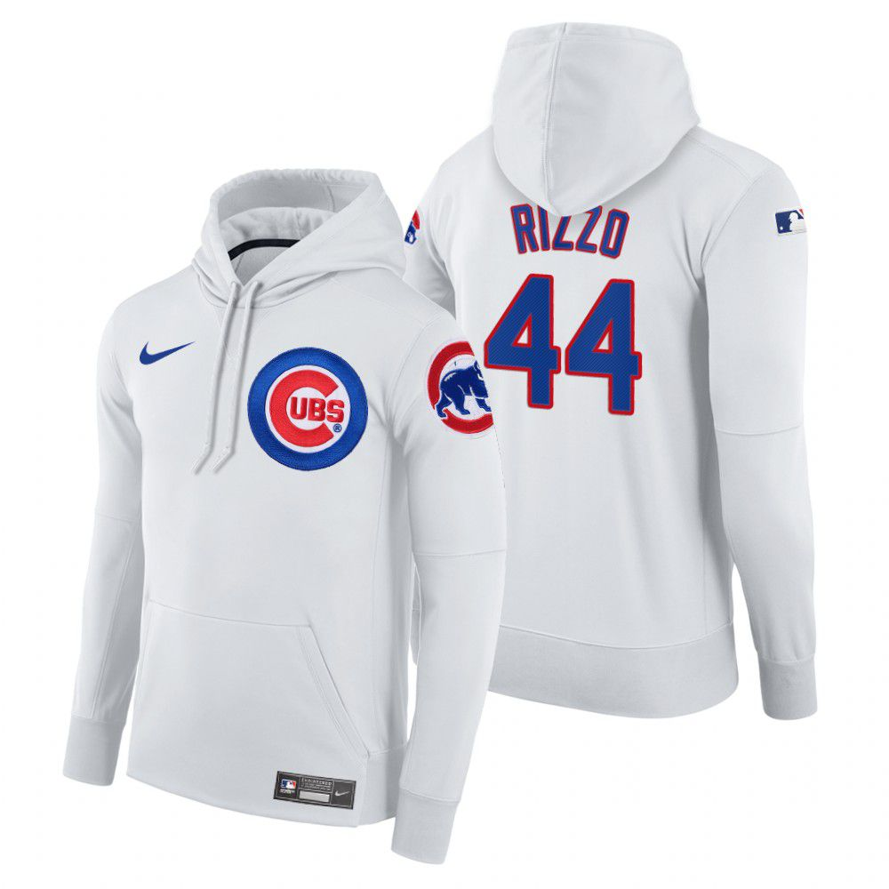 Wholesale Men Chicago Cubs 44 Rizzo white home hoodie 2021 MLB Nike Jerseys