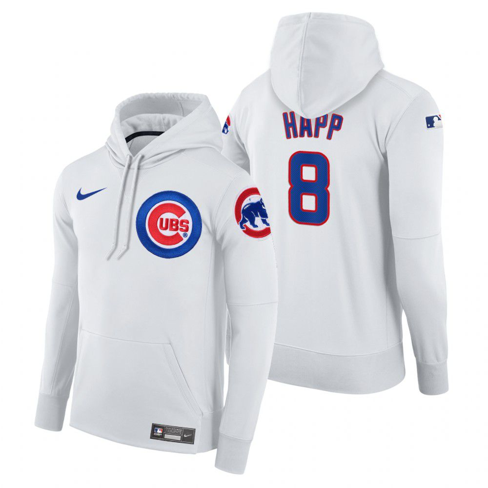 Wholesale Men Chicago Cubs 8 Happ white home hoodie 2021 MLB Nike Jerseys