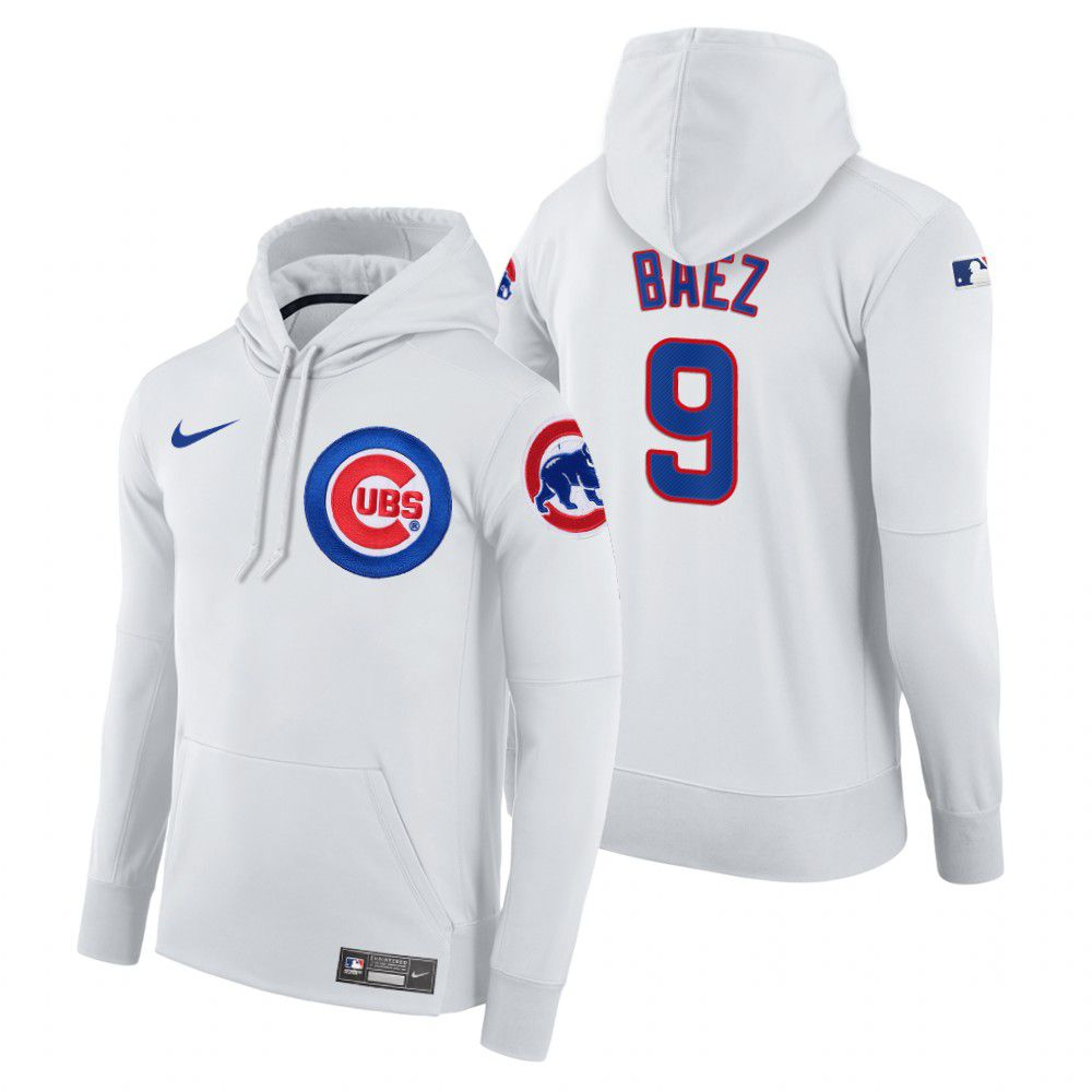 Wholesale Men Chicago Cubs 9 Baez white home hoodie 2021 MLB Nike Jerseys