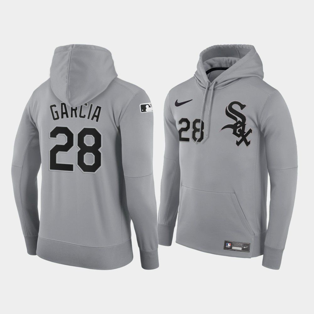 Cheap Men Chicago White Sox 28 Garcia gray road hoodie 2021 MLB Nike Jerseys