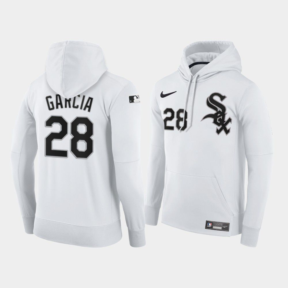 Cheap Men Chicago White Sox 28 Garcia white home hoodie 2021 MLB Nike Jerseys