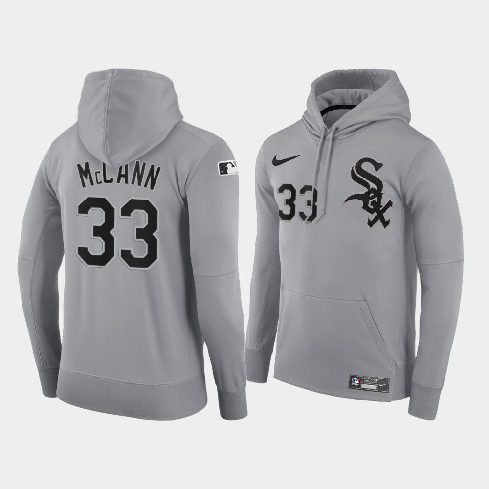Cheap Men Chicago White Sox 33 Mccann gray road hoodie 2021 MLB Nike Jerseys