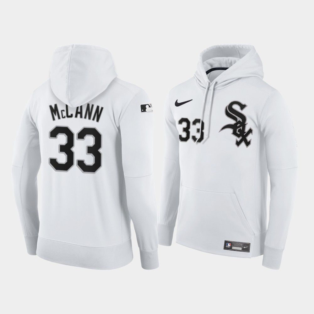 Cheap Men Chicago White Sox 33 Mccann white home hoodie 2021 MLB Nike Jerseys